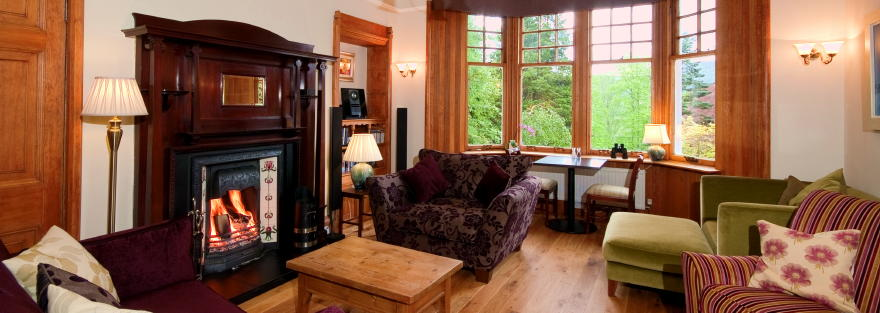 B&B Pitlochry guest lounge - views over Highland Perthshire